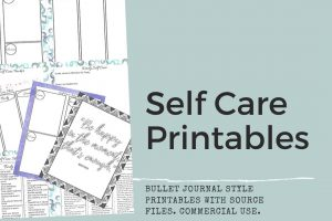 collage of self care printables