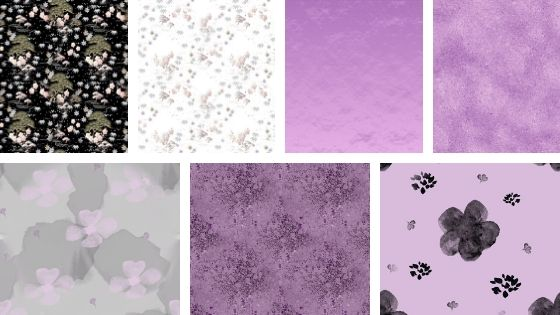 collage of digital papers in pink and grey colors