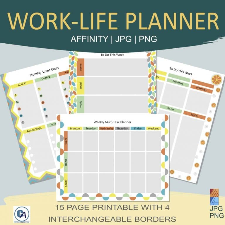 sample of work life planner printable pages