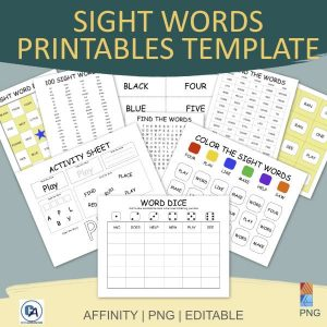 samples of sight word printables affinity template