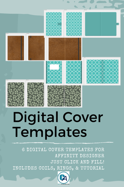 pin with examples of the digital cover templates for affinity designer