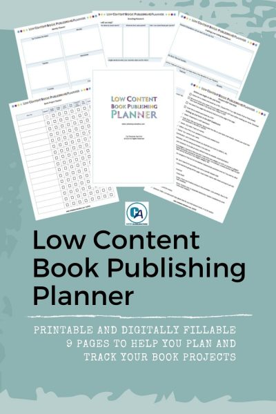 sample images from low content book publishing planner on green background